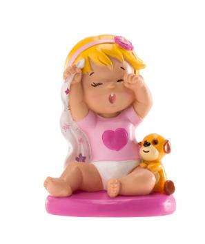 Figura Bautizo Niña Bostezando Rosa