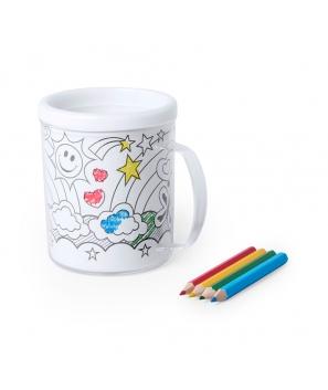 Taza para Colorear 320 ml + 4 Lápices + 4 Laminas Pintar Niños