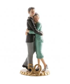 Figura Pastel Bodas de Oro 50 Aniversario Abrazados