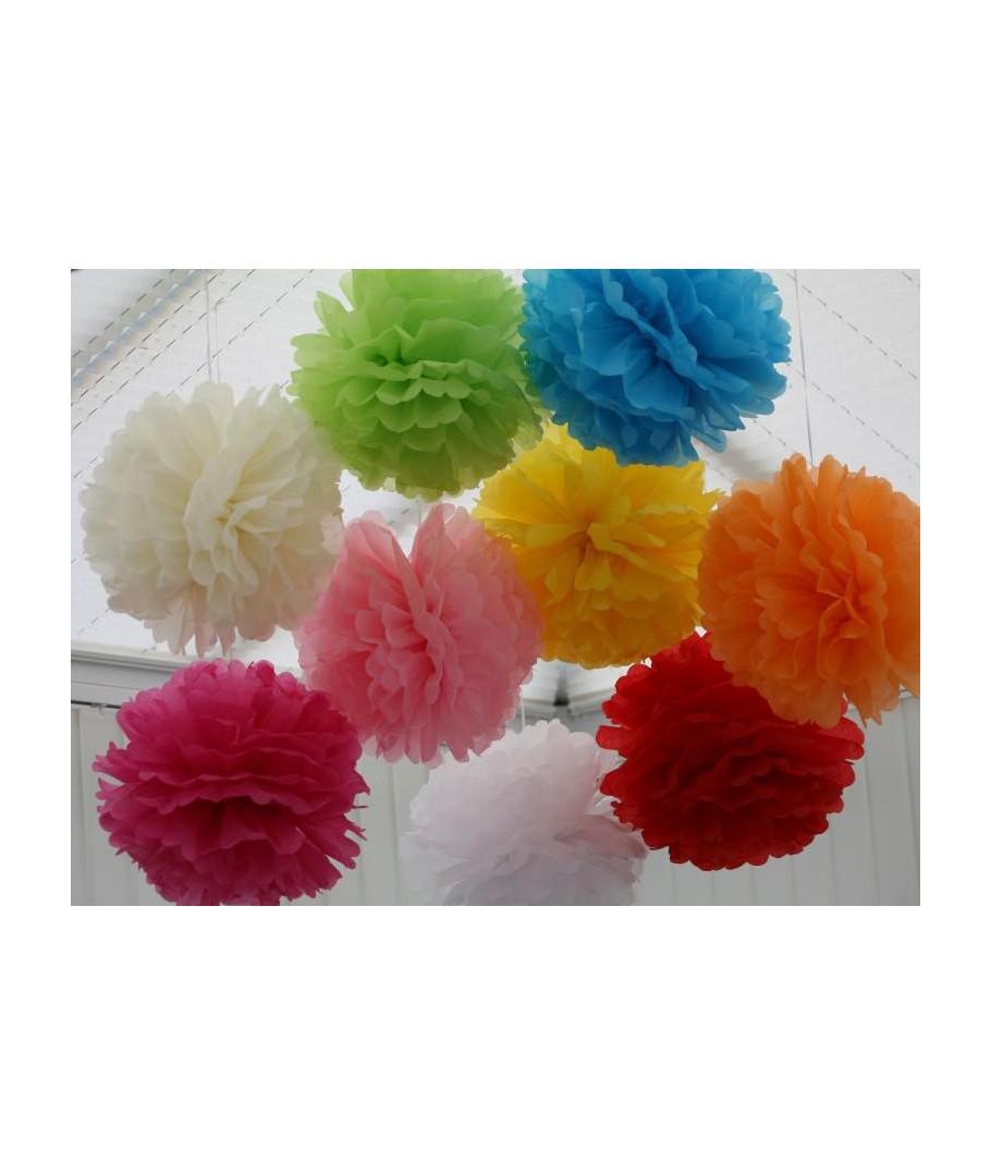 Pompones de colores de papel de seda para decorar - Pompones con papel de seda ...