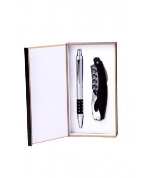 Set de bolígrafo y abrebotellas