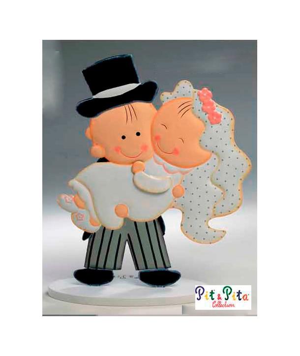 Muñecos para tarta de boda Novia en Brazos