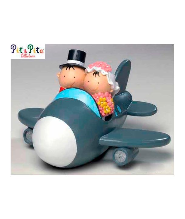 Muñecos para tarta con hucha Avión