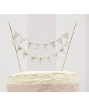 "Banderitas para tarta ""Just Married""-Marfil"