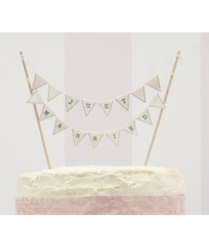 "Banderitas marfil para tarta ""Just Married"""