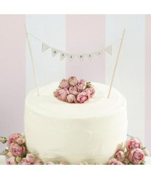 "Banderines para tarta ""Mr & Mrs""-Marfil"