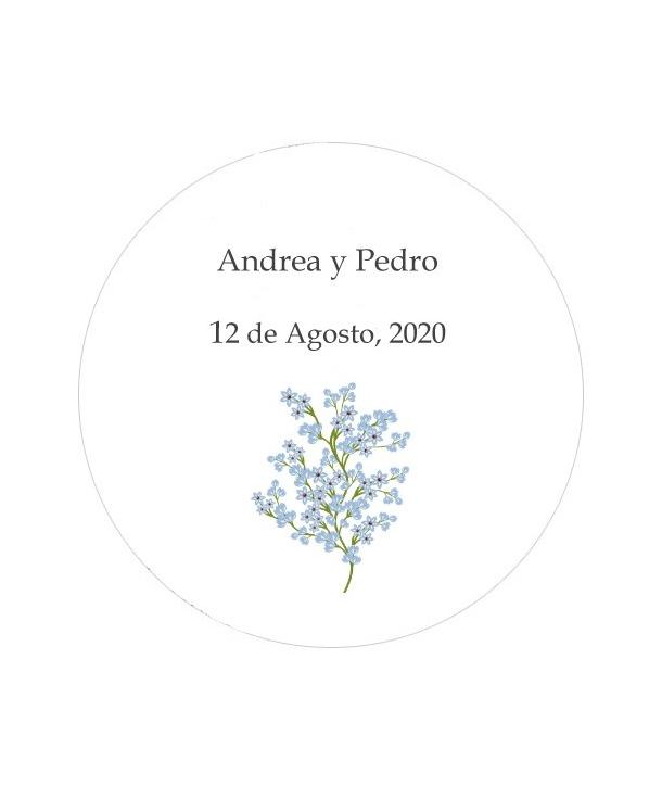Etiquetas redondas Paniculata Azul