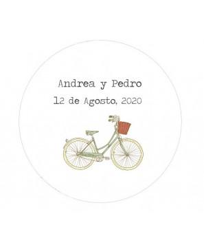 Etiquetas redondas Bicicleta