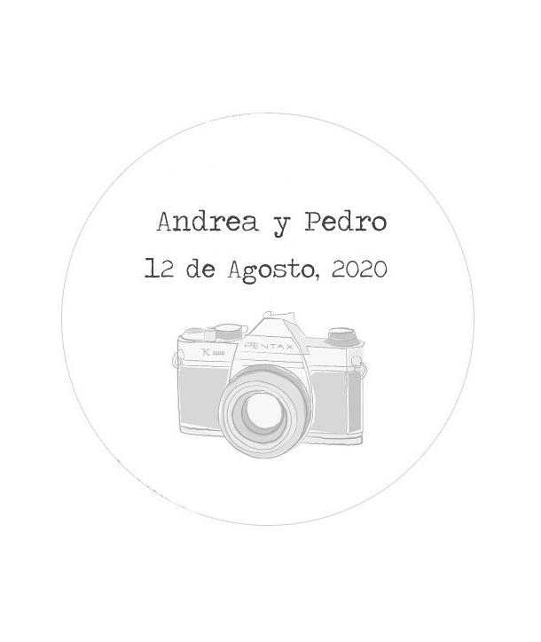 Etiquetas redondas Cámara Fotos