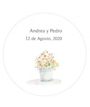 Etiquetas redondas Maceta Flores