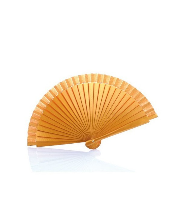Abanico de madera liso-Oro