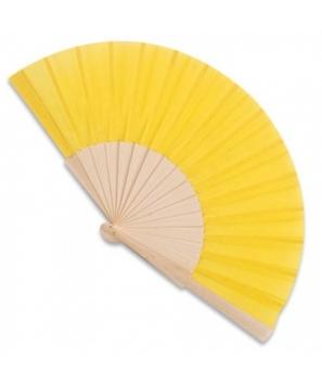 Abanico de madera Amarillo con cajita de cartón