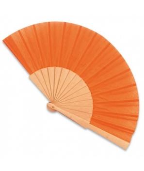 Abanico de madera Naranja con cajita de cartón de regalo
