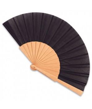 Abanico de madera Negro con bolsa organza