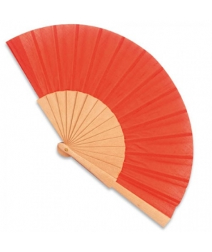 Abanico de madera Rojo con cajita de cartón de regalo