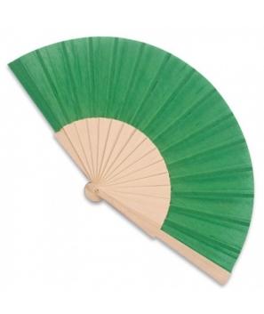 Abanico de madera Verde con cajita de cartón de regalo