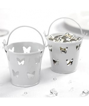 Mini cubos de metal mariposas blanco (5 uds.)