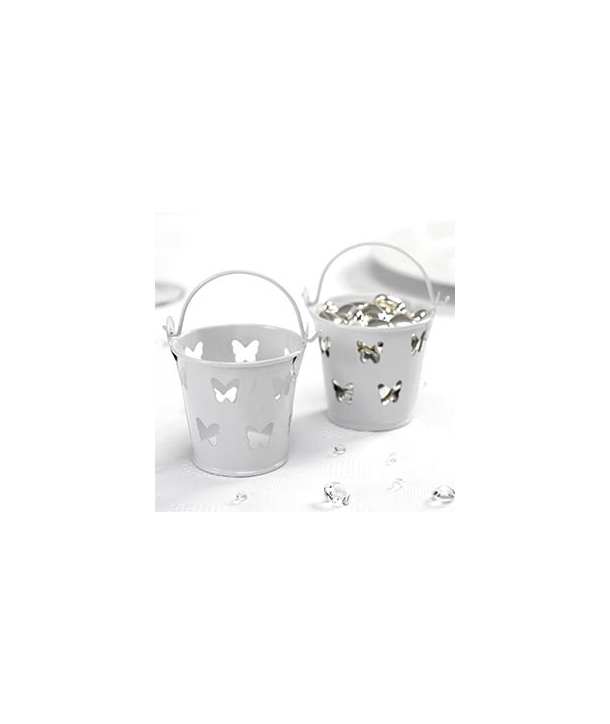 Mini cubos de metal mariposas blanco (pack de 5 uds.)