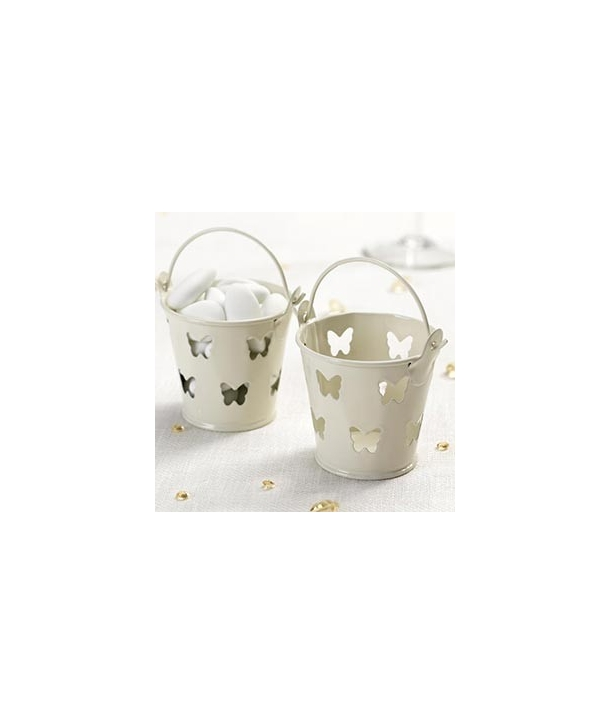 Mini cubos de metal mariposas marfil (pack de 5 uds.)