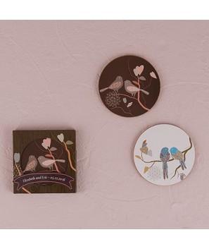 Set de 2 Posavasos con Diseño de Pajaritos