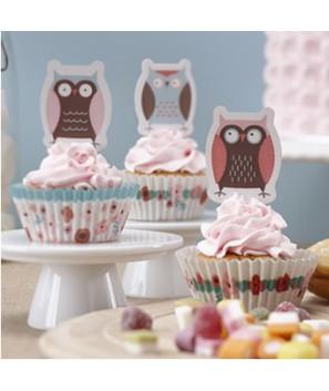 Envoltorios y toppers para cupcakes Búhos