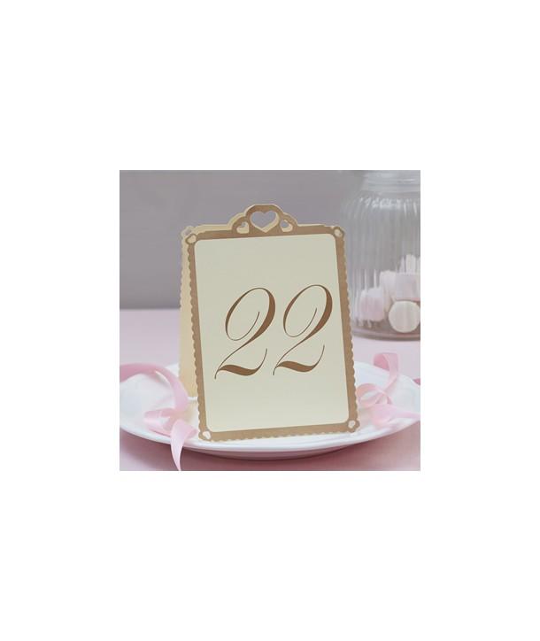 Números de mesa Corazón Marfil 1-24 (12 uds)