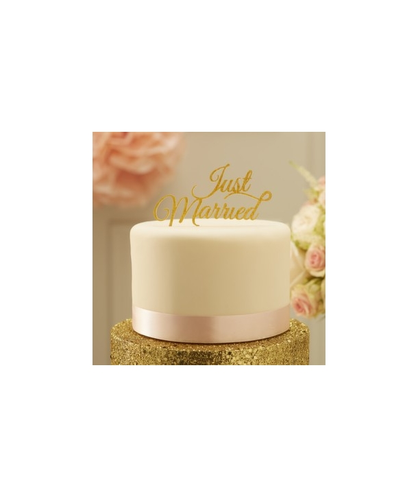 Topper para tarta Just Married dorado
