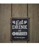 "Letrero de pizarra ""Eat, drink and be married"""