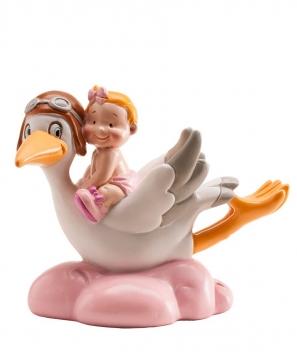 Cigüeña volando bautizo niña