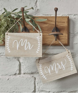 Letreros de madera Boho Mr & Mrs