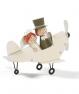Figura novios en avión metálico