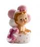 Figura de bautizo bebé regalo y globos rosa
