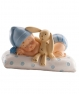 Figura de bautizo bebé con peluche azul