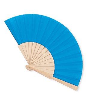 Abanico de madera Azul con bolsa organza