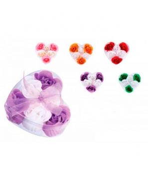 6 Flores de jabón presentadas en estuche corazón con lazo detalles bodas