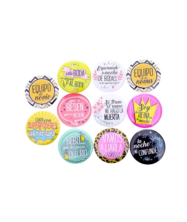 "Lote de 11 Chapas ""Frases Wedding"""