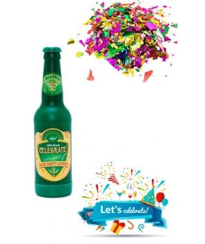 Cañon Confetis Dorados en Forma de Botella de Cerveza