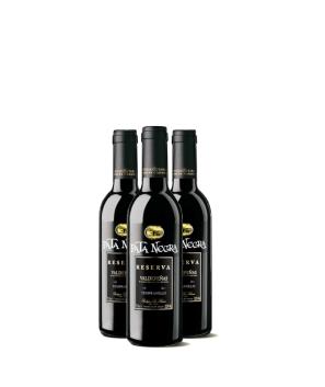 Lote de 12 Botellines Botellas Vino Pata Negra Valdepeñas Reserva 375ml