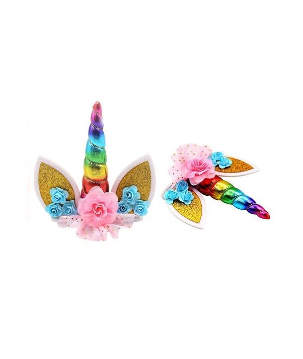 Cake topper unicornio arcoiris decoración tartas