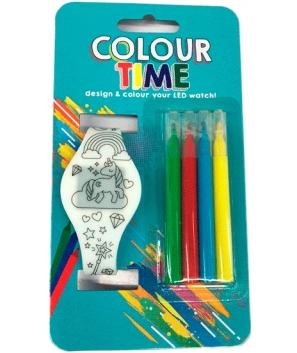 Reloj Led para colorear con 4 rotuladores con pilas incluidas