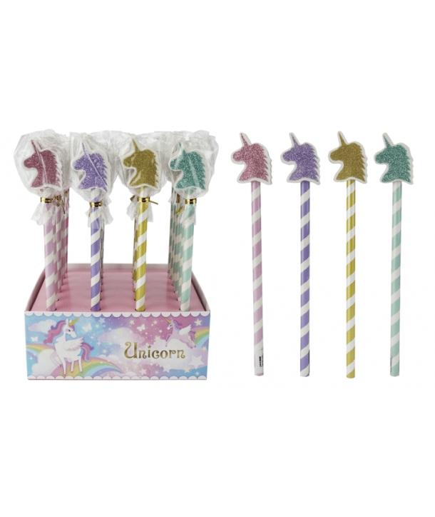 "Lote 24 lápices de madera con borrador purpurina ""Unicornio"""