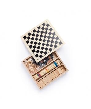 Set de 4 Juegos en estuche de madera. Incluye mikado, ajedrez, damas y dominó