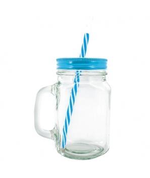 Lote de 48 Jarras Azul Royal de Cristal Transparentes + Caña. Diseño Vintage, Gran Capacidad 500 ml