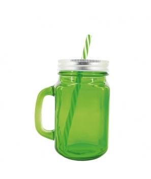 Lote de 48 Jarras Verdes de Cristal Transparentes + Caña. Diseño Vintage, Gran Capacidad 500 ml