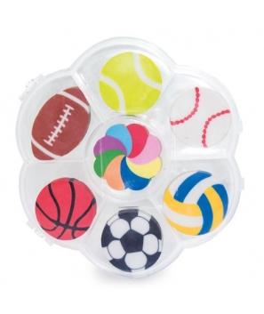 Set de Gomas de borrar con 7 modelos diferentes en su interior inspiradas en diferentes Deportes
