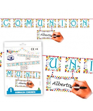 Guirnalda Comunión Niñ9 Personalizable.