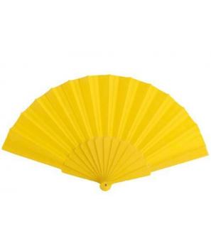 Abanico amarillo de Tela y Pvc presentado en caja