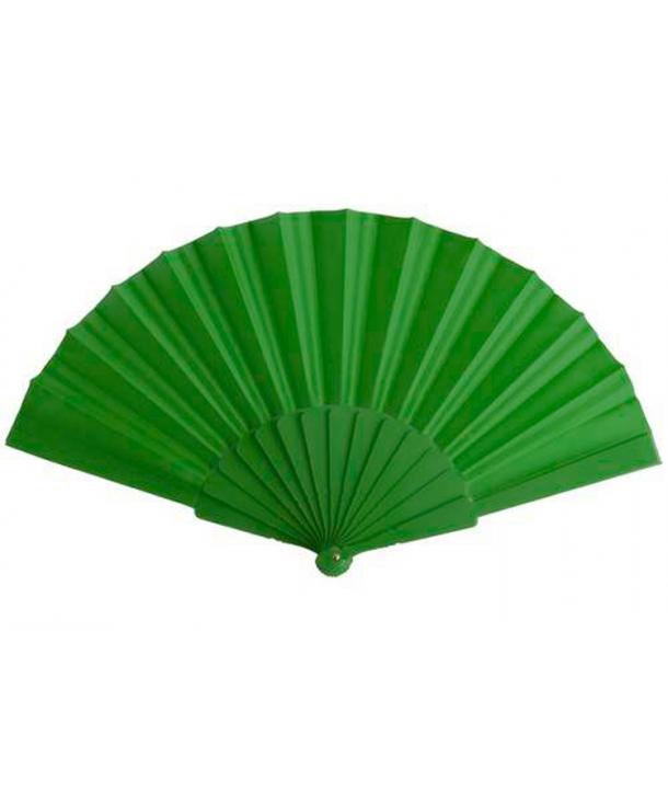 Abanico Verde de Tela y Pvc presentado en caja
