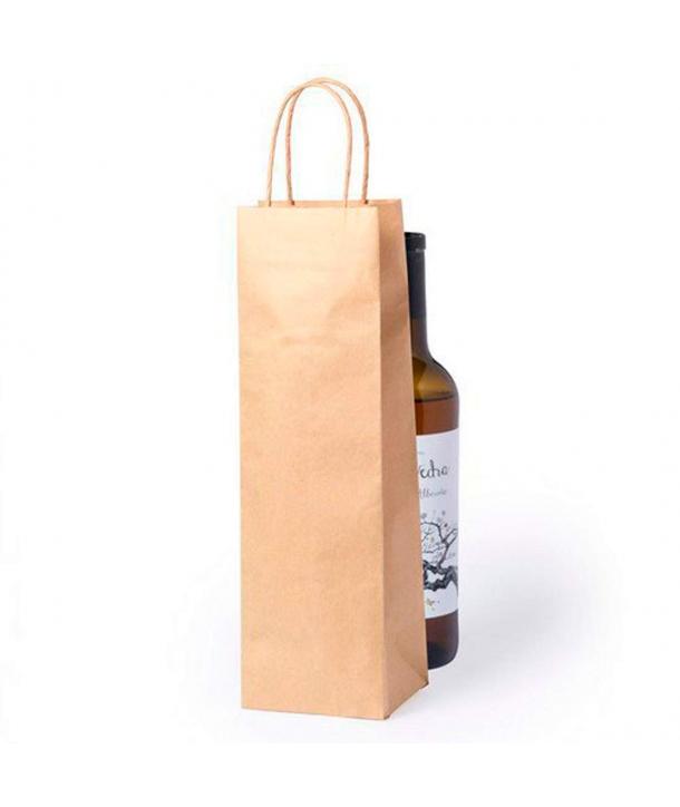 Bolsas de papel para Botellas de Vino Kraft con Ventana