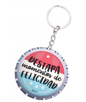 """Llavero Chapa Abridor """"Felicidad"""""""
